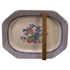 Antique Ironstone Spode Staffordshire Butterfly Flower Blue Transferware Platter