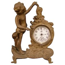 1800's Victorian Art Nouveau Bronze Lotus Flower Boy Cherub Figure Statue Clock