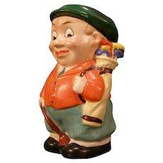 Vintage Schaffer Vater German Porcelain Figure Golfer Caddy Tobacco Jar Humidor Character Novelty