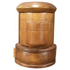 Vintage Wood Tobacco Humidor Match Safe Holder Pipe German Music Cigar Box Jar