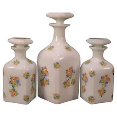 3 Antique French Clambroth Opal Opaline Glass Enamel Barber Perfume Cologne Bottle