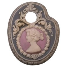19c Schafer & Vater Jasperware German Cameo Hair Reciever Dresser Powder Pin Box