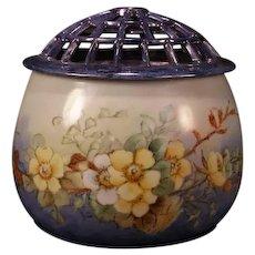Antique RS Prussia Tillowitz German Flower Frog Vase Porcelain Centerpiece Dish