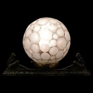 1920's Art Deco Nude Girl Figure Iron Sculpture Statue Glass Moon Ball Shade Lamp