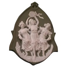 Antique Art Nouveau German Schafer Vater 3 Graces Girl JasperWare Plaque Figure