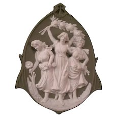 Antique Jugendstil German Schafer Vater 3 Graces Girl Jasper Ware Plaque Figure