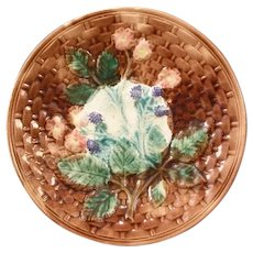 19c Victorian Majolica Pottery Blackberry Basketweave Dinner Plate Charger
