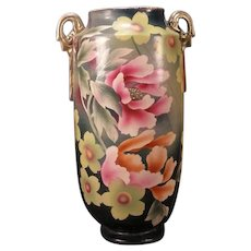 LG Antique Asian Meiji Satsuma Painted Decorated Earthenware Kutani Flower Vase