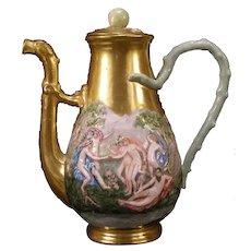 19 c Ginori Doccia Capodimonte Porcelain Relief Dragon Nude Girl Teapot~