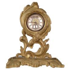 19 c Victorian Brass Rococo Pocket Watch Holder Cast Iron Stand Locket Display