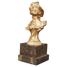 19c Victorian Art Nouveau Marble Bust Girl Sculpture Statue Figure French Maiden