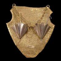 19c Victorian Tin Brass Wall Hanging Umbrella Match Holder Safe Shield Plaque Parasol