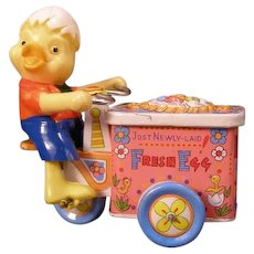 40s Japanese Duck Chick Tin Wind Up Toy Fresh Egg Bike Cart Mechanical Clockwork