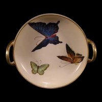 40s Noritake Nippon Polychrome Fairyland Luster Butterfly Dish Bowl Center Pc HP