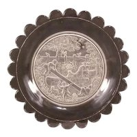 1800's EAPG Gillinder Child's Portrait Bread Historical Glass Plate Tray Platter
