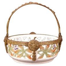 1800's French Porcelain Gilt Bronze Potpourri Faience Basket Candy Dish Bowl