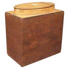 1800's Wood Inlaid Tea Coffee Store Bin Canister Tobacco Humidor Caddy Hinged Box