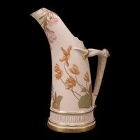 1880's Royal Worcester Porcelain Hand Painted Enamel Tankard Pitcher Ewer