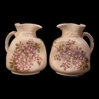 Pr 19th c Hand Painted Violets Enamel Carlsbad Austria Victoria Pottery Pitcher