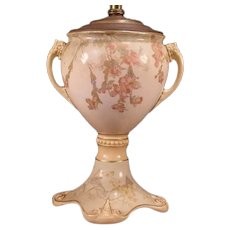 BIG 19c Art Nouveau Royal Doulton Burslem Pottery Stoneware Oil Lamp Jardiniere