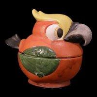 Antique Parrot Bird Figure German Porcelain Condiment Mustard Dish Castor Jar Jam Jelly