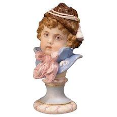 1800's Victorian German Porcelain Bisque Bust Figure Statue Sculpture Girl Pedestal Hat Bow