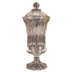 """40's 13"""" Fostoria Coin Glass Footed Urn w/ Lid Covered Candy Dish Jar Medallion"""