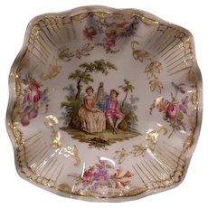 19c Antique Meissen Dresden German Porcelain Portrait Hand Painted Plaque Dish~