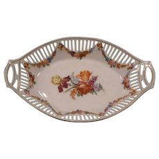 19c Meissen Dresden German Porcelain Lattice Dish Center Bride Bowl Candy Flower
