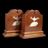 Antique Judaica Sterling Silver Walnut Wood Bookend Aladdin Oil Lamp Book Carved Wooden Torah