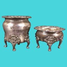 Set 1800's Victorian Silver Repousse Egg Cup Salt Cellar Toothpick Match Holder Vase