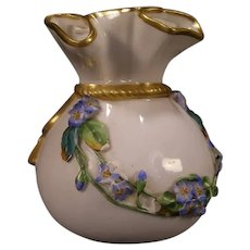 1870's Worcester Porcelain Gold Gilt Flour Flower Bag Vase High Relief Enamel