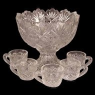 1890s EAPG Child's Pressed Glass Thumbelina Pattern Punch Bowl Cup Doll Dish Set