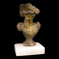 19c Victorian Art Nouveau Bronze Spelter Marble Girl Pirate Bust Figure Sculpture Statue
