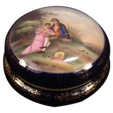 1800's Hand Painted Vienna Austria Porcelain Portrait Dresser Ring Box Powder Jar