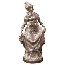 Antique SOLID Bronze French Girl Figure Statue Sculpture Victorian Maiden Women