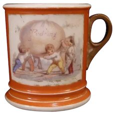 19th c Staffordshire Painted Portrait Pearl Cream Ware Child's Mug Pudding Cup