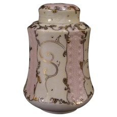 Antique Bone China Export Nippon Moriage Porcelain Gold Gilt Ginger Jar Humidor Urn
