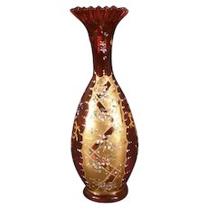 19th c Victorian Moser Bohemian Czech Enamel Cranberry Glass Gold Leaf Gilt Vase