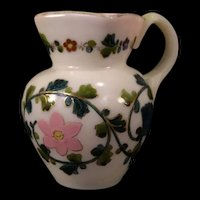 1800's Blown Cased Custard Cranberry Opalescent Glass Enamel Pitcher Gilt~