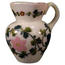 1800's Blown Cased Custard Cranberry Opalescent Glass Enamel Pitcher Gilt~