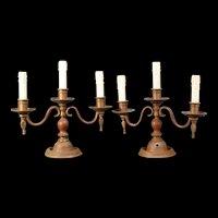 PAIR 19c SOLID HVY Bronze Candelabra Newel Post Candle Stick Gas Lamp Light Holder