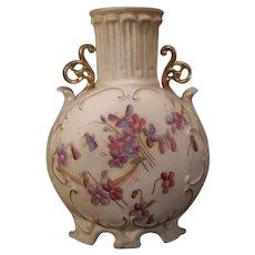 LARGE 19c Royal Rudolstadt German Porcelain Pottery Painted Corinthian Violet Vase