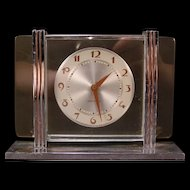 1932 Art Deco Chrome Pink Glass Westclox LELAND ALARM Wind Up Table Desk Clock