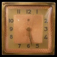 Vintage Art Deco Bronze Guilloche Face GE Clock Desk Model 4H74 ~Working~