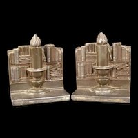 30's Ronson Volumes & Candlelight Spelter Candlestick Book Bookend Judaica Flame