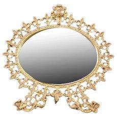 19 c Cast Iron Dragon Mirror Knight Figure Vanity Dresser Beveled Fleur de Lis