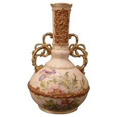 1910 Sn Ernst Wahliss Wein Teplitz Turn Austrian HP Gilt Porcelain Ewer Urn Vase