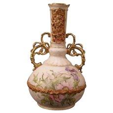 1910 Sn Ernst Wahliss Wein Teplitz Turn Austrian HP Gold Gilt Porcelain Urn Vase
