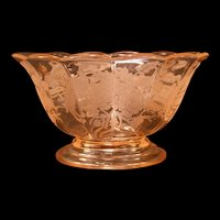 1930's Paden City Peacock/Wild Rose Pink Depression Glass Center Piece Bowl Dish
